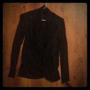 Black Cowl Neck Long Sleeve Shirt